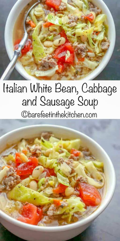White Bean, Cabbage, and Sausage Soup is a hearty meal that only takes a few minutes to make!