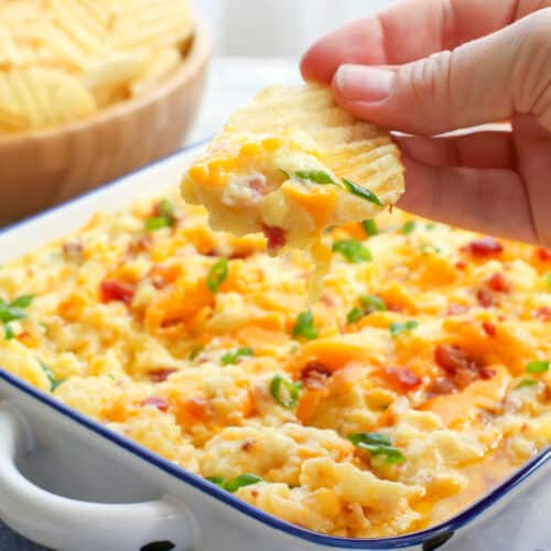 Twice Baked Potato Dip is a huge hit for every party! get the recipe at barefeetinthekitchen.com