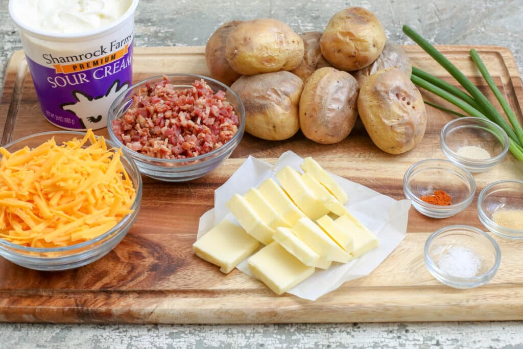 Twice Baked Potato Dip ingredients - get the recipe at barefeetinthekitchen.com