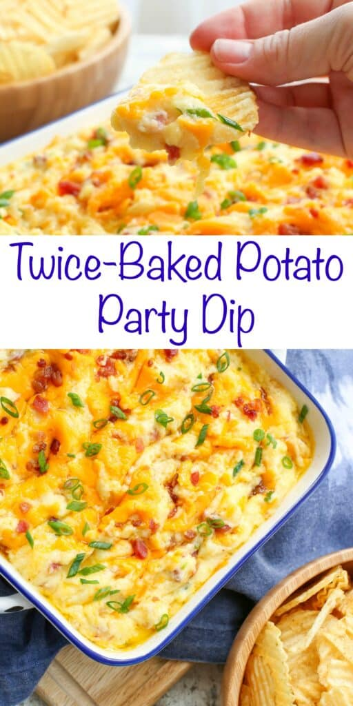 Twice Baked Potato Party Dip - get the recipe at barefeetinthekitchen.com