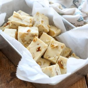 Vanilla Walnut Fudge is quick and easy to make and it disappears fast every time you make it! get the recipe at barefeetinthekitchen.com