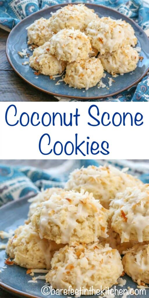 Coconut Scone Cookies are a perfect mix of flaky buttery scone and sweet coconut! get the recipe at barefeetinthekitchen.com