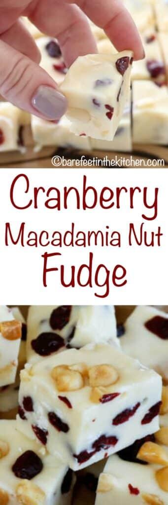 Cranberry Macadamia Nut Fudge - get the recipe at barefeetinthekitchen.com