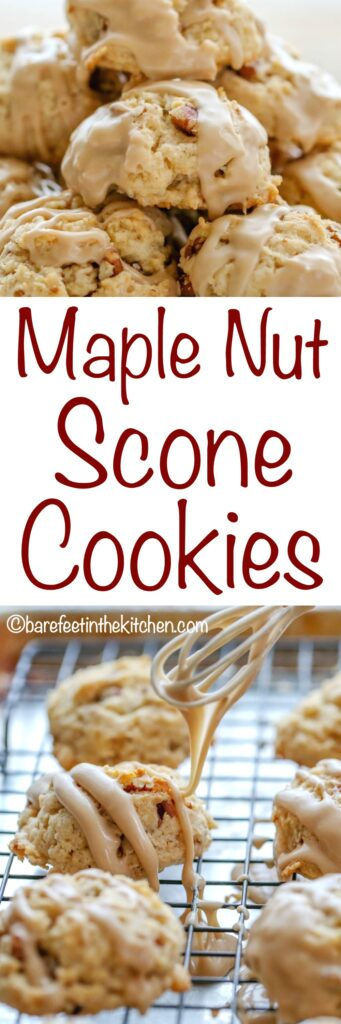 Maple Nut Scone Cookies are nutty, chewy, sweet, and tender scones in a bite-size cookie! get the recipe at barefeetinthekitchen.com
