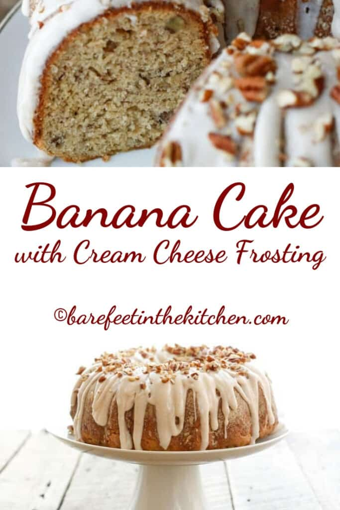 Banana Cake with Cream Cheese Frosting - get the recipe at barefeetinthekitchen.com