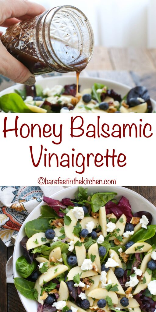 Honey Balsamic Vinaigrette - get the recipe at barefeetinthekitchen.com