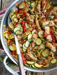Southwest Chicken Skillet with Corn and Zucchini - get the recipe in The Weekday Lunches & Breakfasts Cookbook