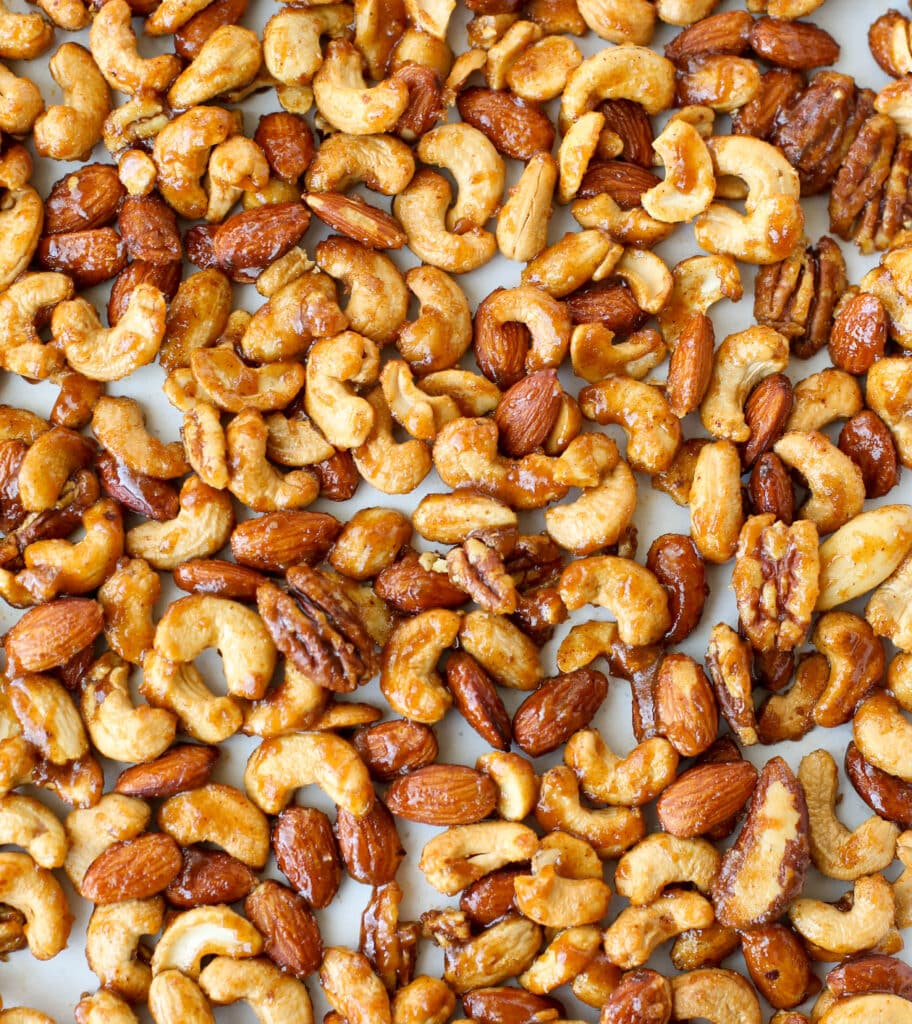 Sweet and Spicy Roasted Nuts - get the recipe in The Weekday Lunches & Breakfasts Cookbook