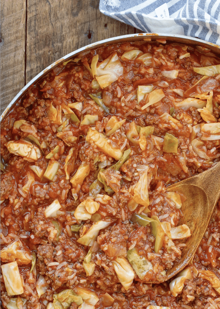 Unstuffed Cabbage Roll Skillet is a flavor packed meal that kids and adults love! get the recipe at barefeetinthekitchen.com