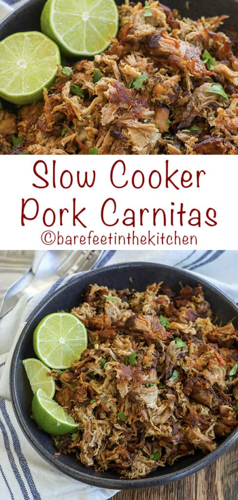 Slow Cooker Pork Carnitas are crispy, juicy, irresistible bites of pork! get the recipe at barefeetinthekitchen.com