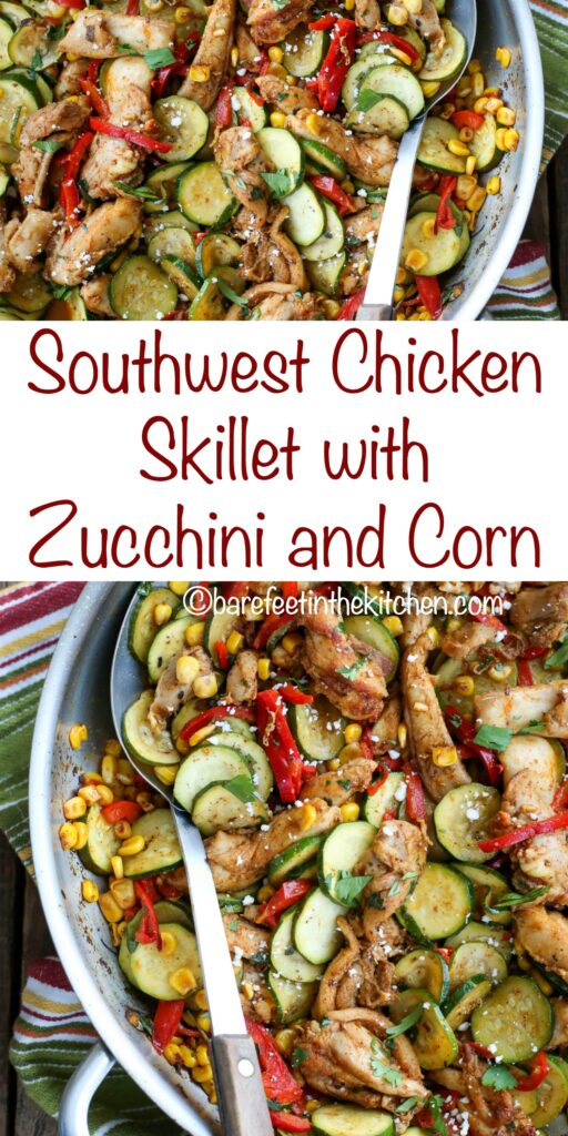 Southwest Chicken Skillet with Zucchini and Corn - recipe shared from The Weekday Lunches & Breakfasts Cookbook