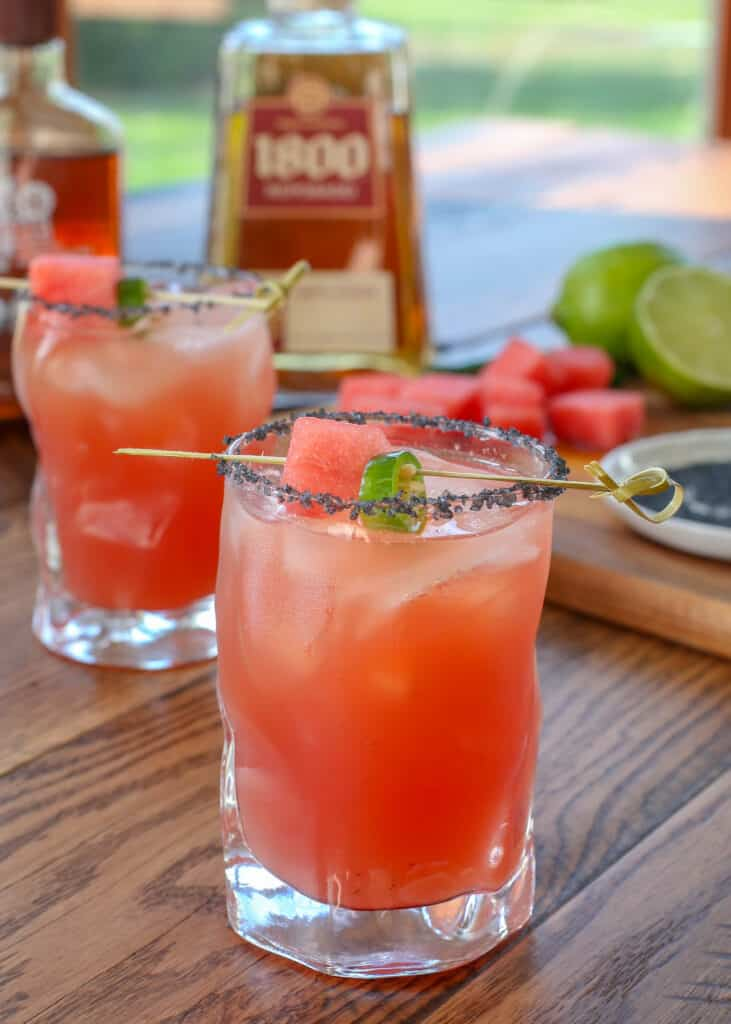 The Best Ever Watermelon Margaritas - Sandia En Fuego cocktails are incredible!