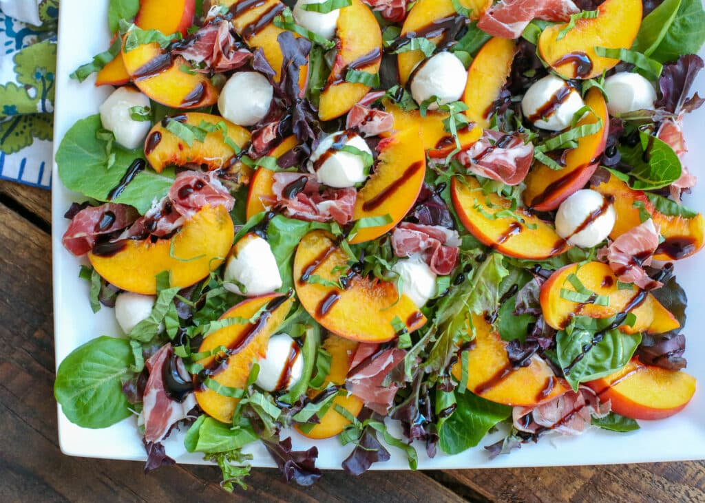 Summer Peach Salad with Mozzarella and Prosciutto - get the recipe at barefeetinthekitchen.com