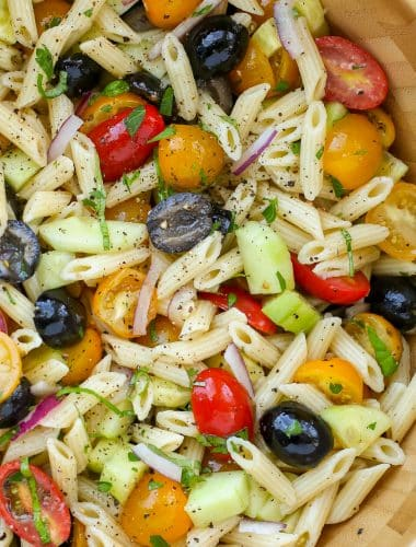 Italian Pasta Salad with Tomatoes, Cucumbers, and Olives