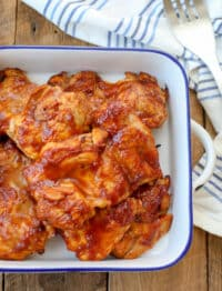 Broiled Chicken with BBQ Sauce is a reader favorite too! find out how we make it at barefeetinthekitchen.com