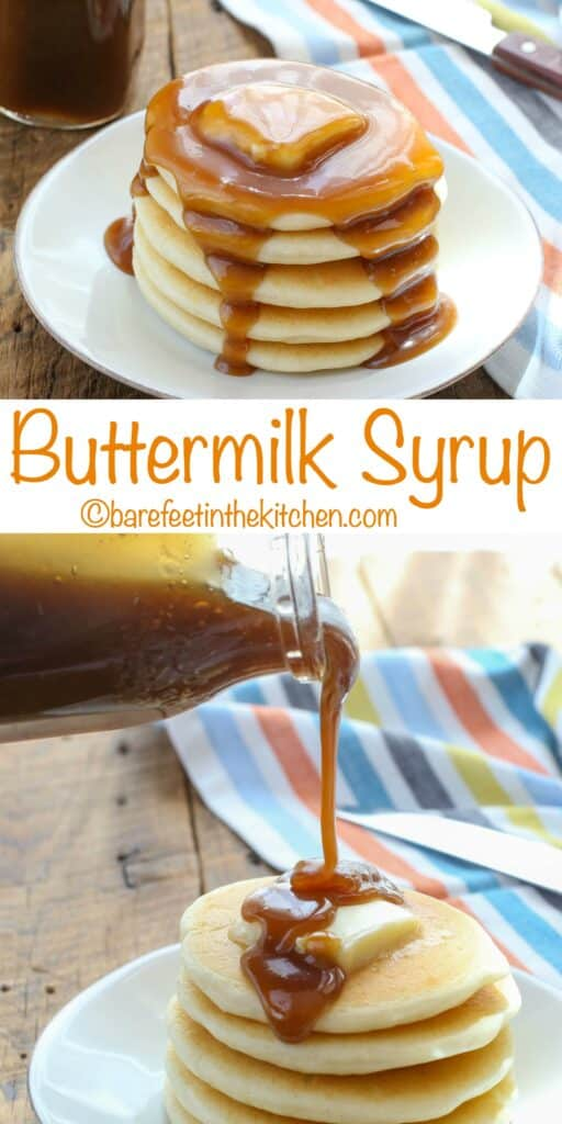 Homemade Buttermilk Syrup is a must for your next pancake breakfast! get the recipe at barefeetinthekitchen.com