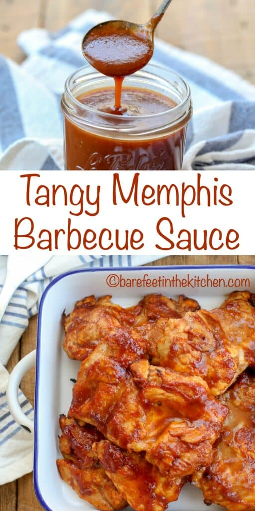 Tangy Memphis BBQ Sauce is a sweet and tangy homemade sauce that beats anything store-bought! get the recipe at barefeetinthekitchen.com