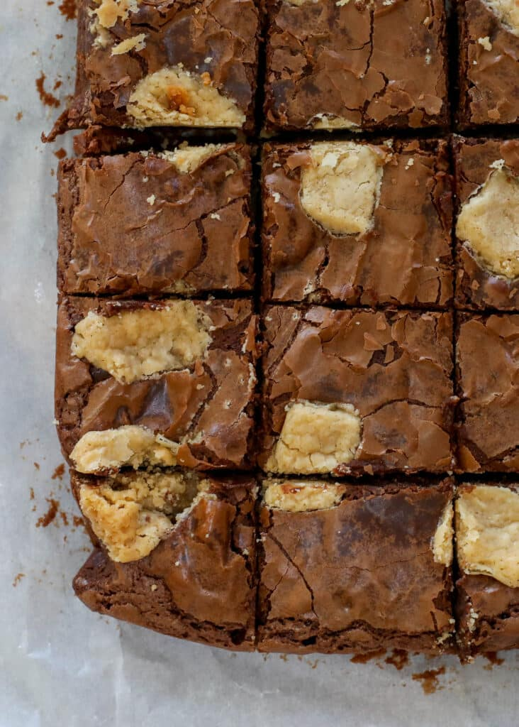 Peanut Butter Brownies are a fantastic combination! get the recipe at barefeetinthekitchen.com