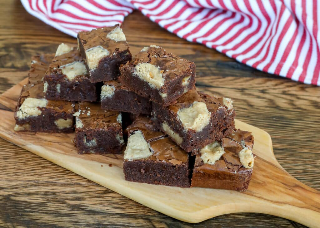Peanut Butter Fudge Brownies - get the recipe at barefeetinthekitchen.com