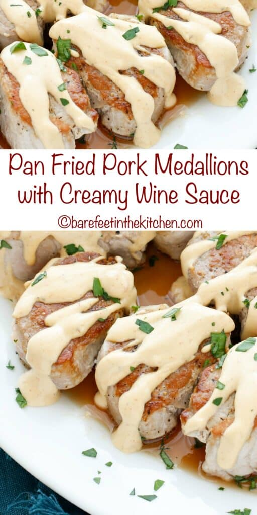 Pan Fried Pork Medallions in a Creamy Wine Sauce are a quick and easy 25 minute minute dinner that you're going to love! get the recipe at barefeetinthekitchen.com