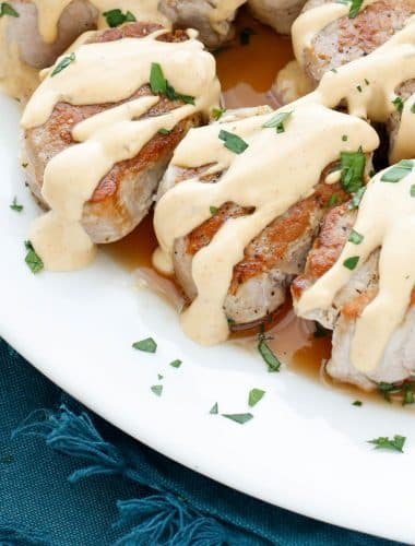 Pan Fried Pork Medallions with Creamy Wine Sauce