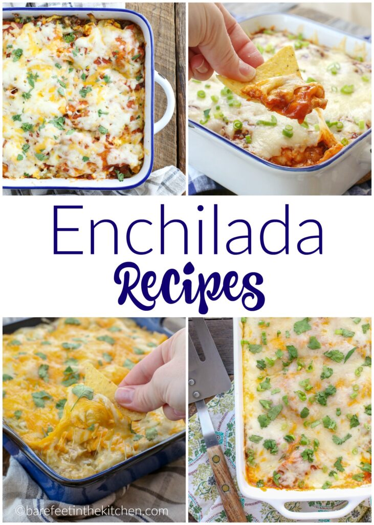 Beef, Chicken, Pork, or Vegetarian - there's an Enchilada Recipe here for everyone! Get them all at barefeetinthekitchen.com