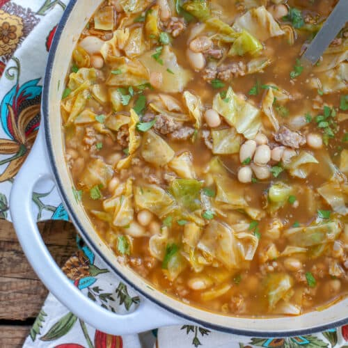 Mexican White Bean and Cabbage Soup - get the recipe at barefeetinthekitchen.com