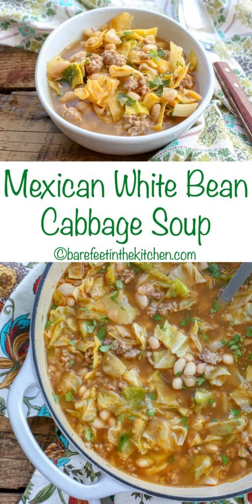 Mexican Cabbage Soup with White Beans and Sausage - get the recipe at barefeetinthekitchen.com