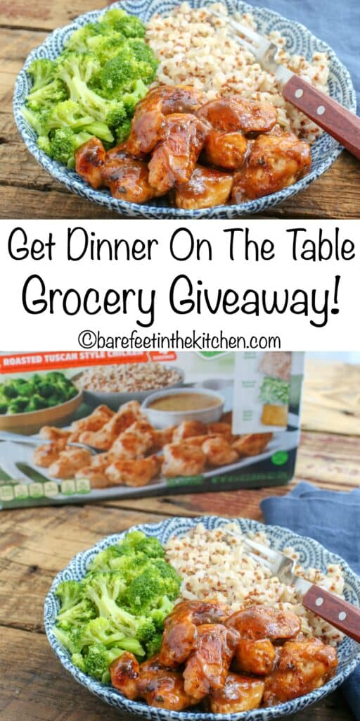 Get Dinner On The Table - Grocery Giveaway - enter to win a $40 gift card at barefeetinthekitchen.com