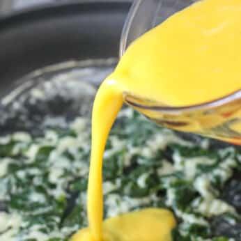Cheesy Scrambled Eggs with Spinach - aka Power Eggs