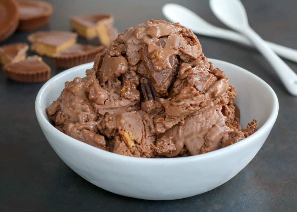 Homemade Chocolate Peanut Butter Ice Cream is a hit!