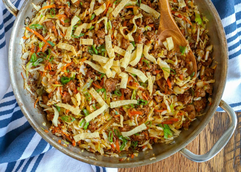 This Egg Roll Stir Fry is everything I love about classic egg rolls in an easy skillet meal!