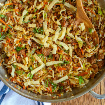 This Egg Roll Skillet is everything I love about classic egg rolls in an easy skillet meal!