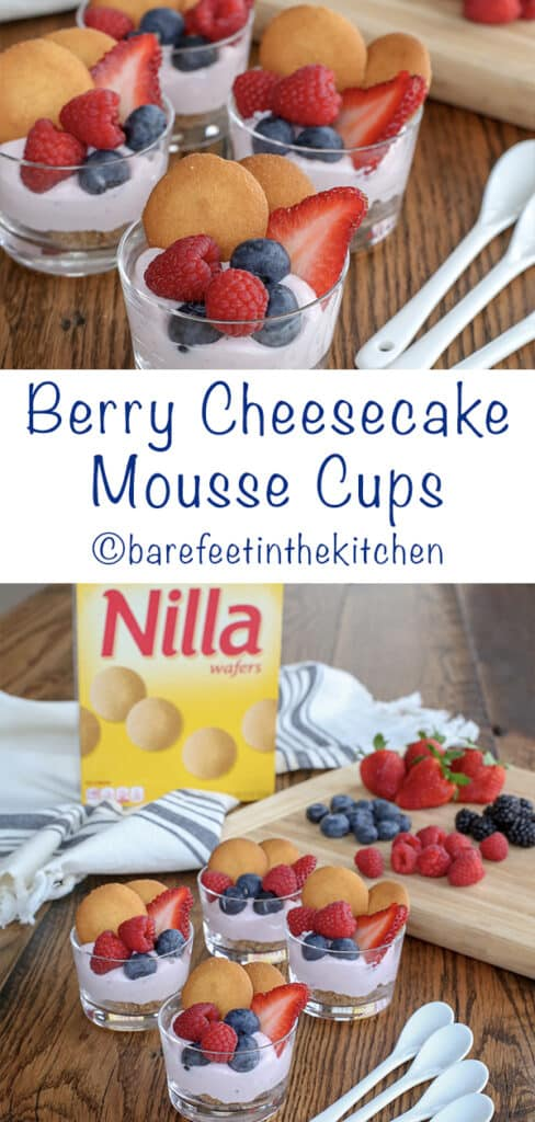 Berry Cheesecake Mousse Cups - get the recipe at barefeetinthekitchen.com