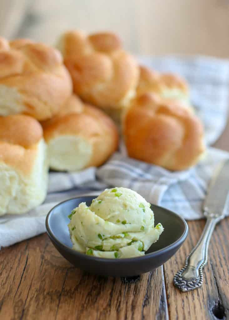 Jalapeno Honey Butter is delicious on rolls, toast, cornbread, tortillas, pretty much anything goes well with it! get the recipe at barefeetinthekitchen.com
