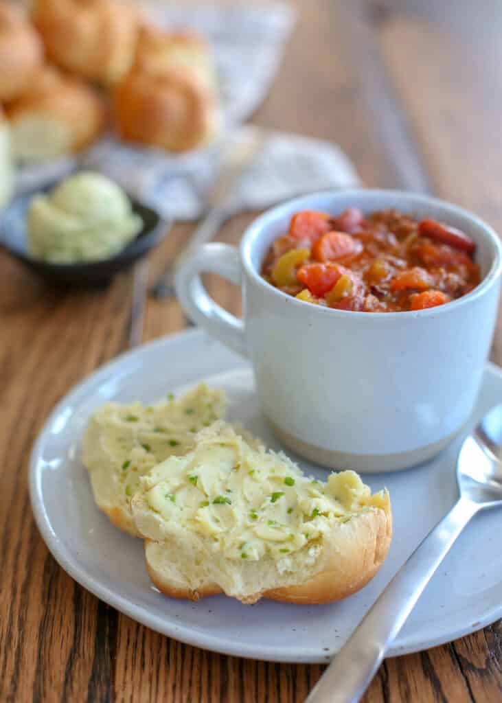 Jalapeno Honey Butter with Italian Vegetable Soup - you're going to love this combination!