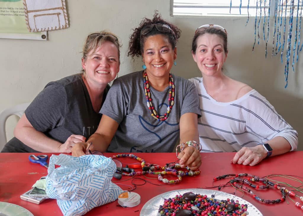 2019 Princess Cruises excursion to RePapel - these handmade beads are made from recycled magazines.