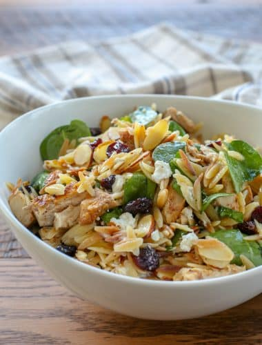 Spinach Pasta Salad with Cranberries, Almonds, and Goat Cheese - get the recipe at barefeetinthekitchen.com