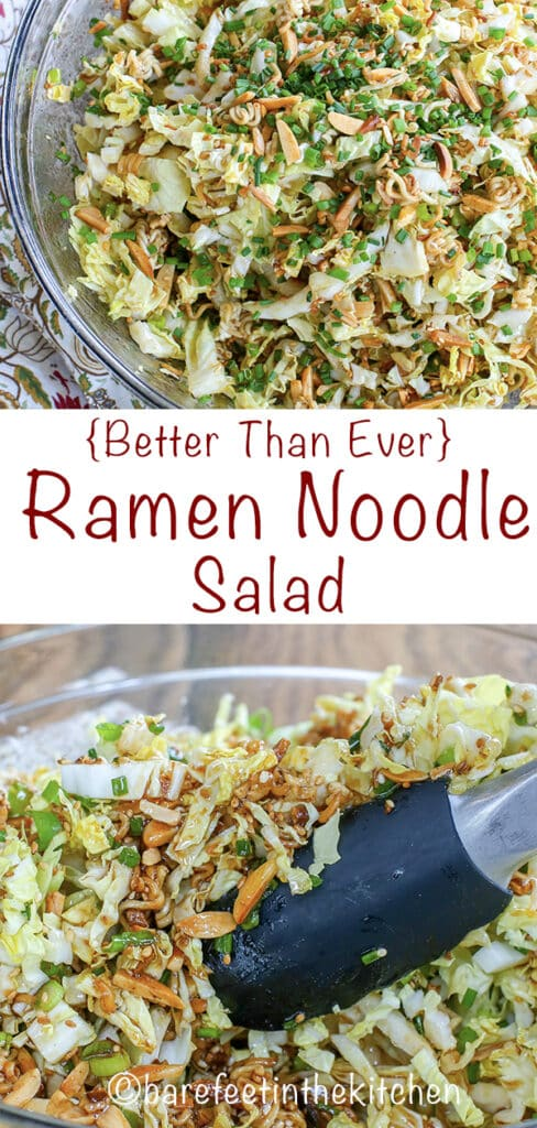 The BEST Ramen Noodle Salad you've ever tasted! get the recipe at barefeetinthekitchen.com