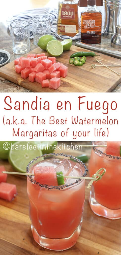 Sandia en Fuego (a.k.a. the best Watermelon Margaritas of your life!) get the recipe at barefeetinthekitchen.com
