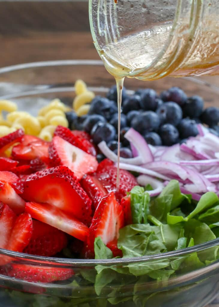 Strawberry Spinach Pasta Salad with a White Balsamic Vinaigrette