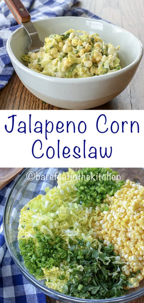 Jalapeno Corn Coleslaw is the sweet and spicy side dish for every barbecue! - get the recipe at barefeetinthekitchen.com