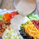 Bacon and Egg Taco Salad with Chipotle Ranch Dressing - get the recipe at barefeetinthekitchen.com