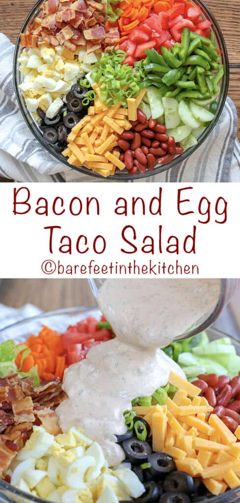 Bacon and Egg Taco Salad with Chipotle Ranch Dressing is irresistible! get the recipe at barefeetinthekitchen.com
