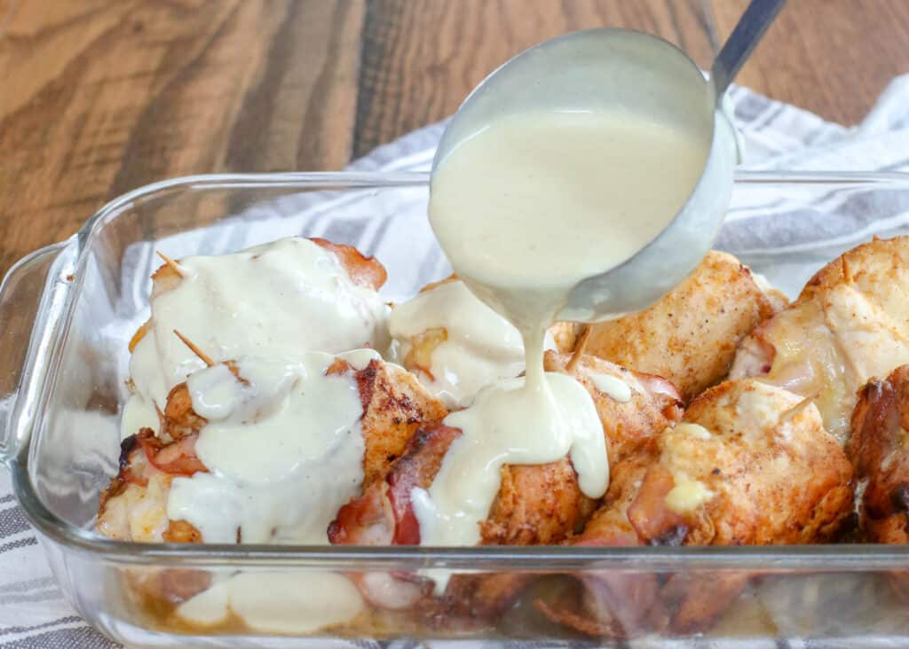 Chicken Cordon Bleu with Creamy White Wine Sauce - get the recipe at barefeetinthekitchen.com