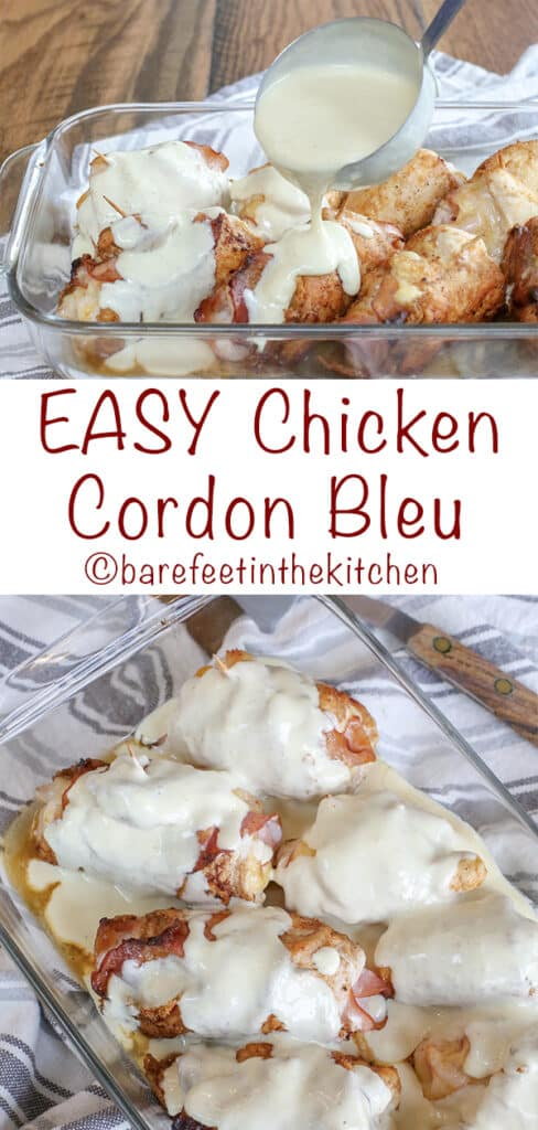 EASY Chicken Cordon Bleu with a Creamy White Sauce is a terrific weeknight dinner or a company dinner that will look and taste much fancier than it actually is!
