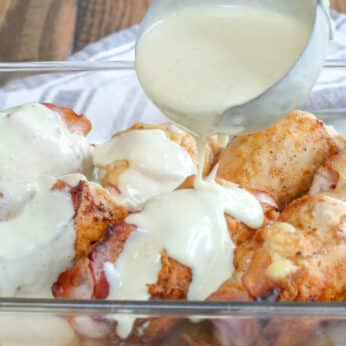 Chicken Cordon Bleu with Creamy White Wine Sauce - get the recipe at barefeetinthekitchen.com