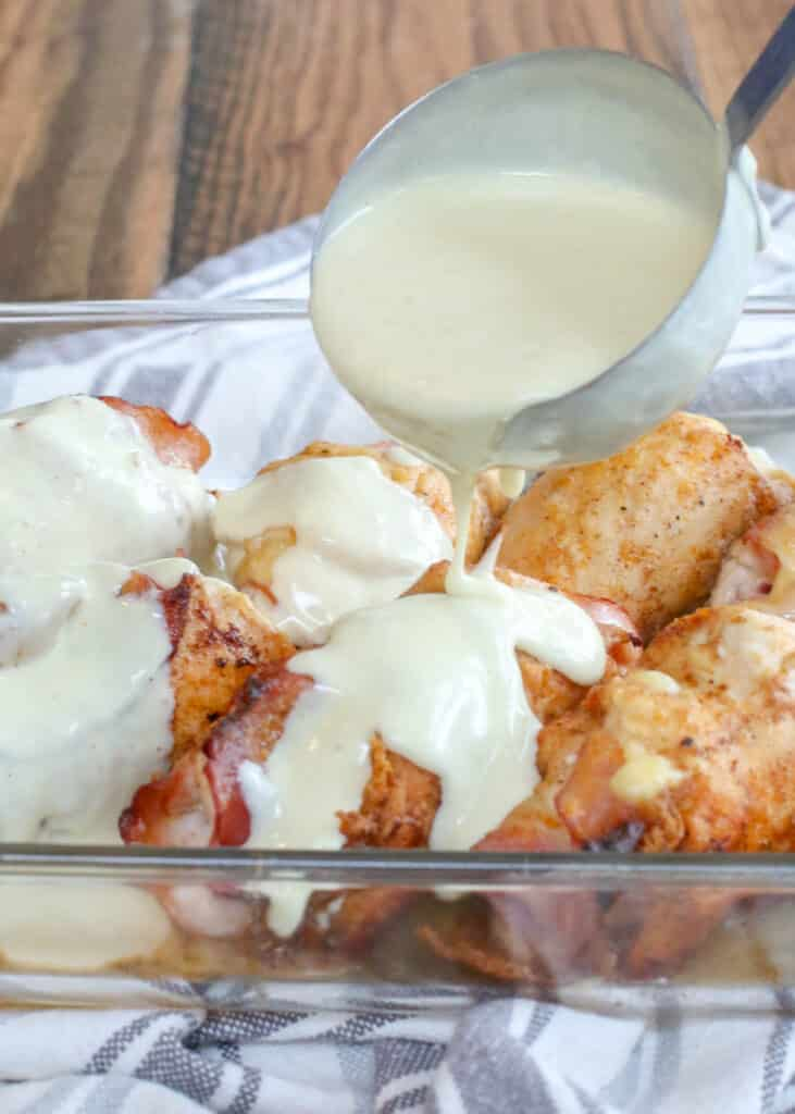 Chicken Cordon Bleu with White Wine Sauce - get the recipe at barefeetinthekitchen.com