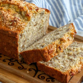 Coconut and Pecans fill this Banana Bread - it's irresistible!
