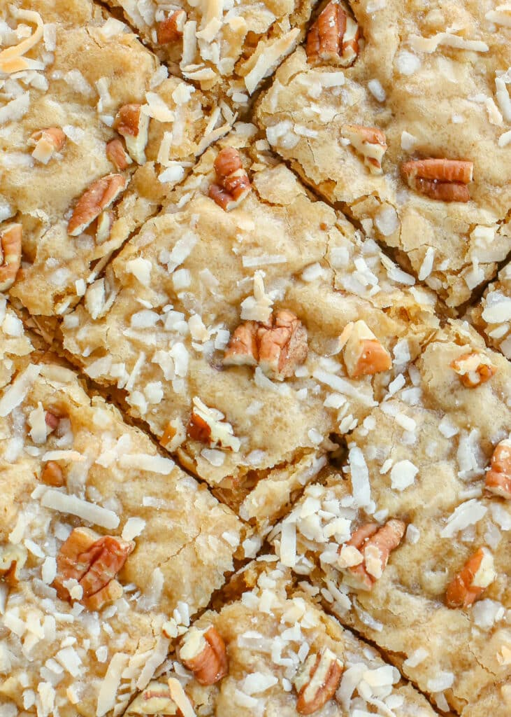Blondies with coconuts and pecans